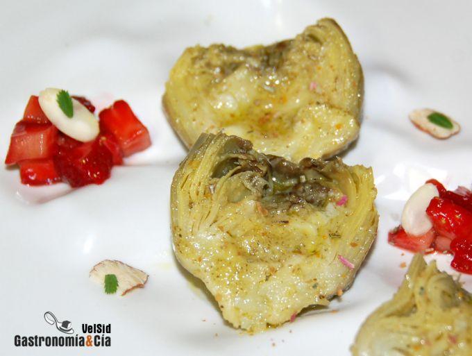 Alcachofas marinadas con fresones balsámicos