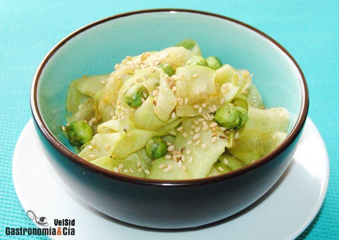 Ensalada de alficoz con salsa sukiyaki