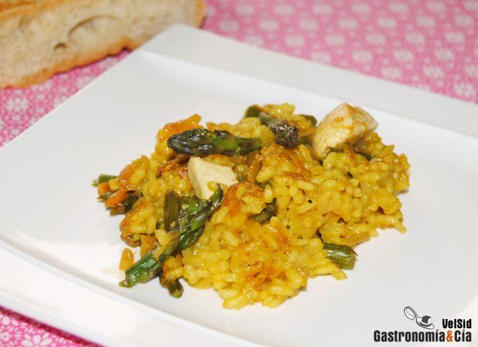 Receta de arroz con pollo y espárragos