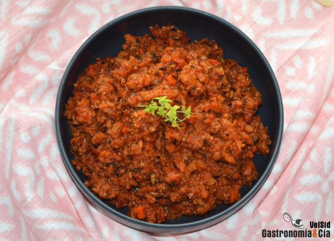 Receta de salsa boloñesa vegana