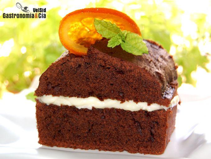 Cake de chocolate relleno de mascarpone y Cointreau