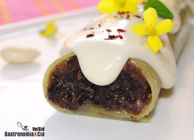 Canelón de espinacas con morcilla y mermelada de ceboll