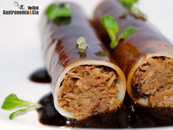 Canelones de carne con salsa maestra