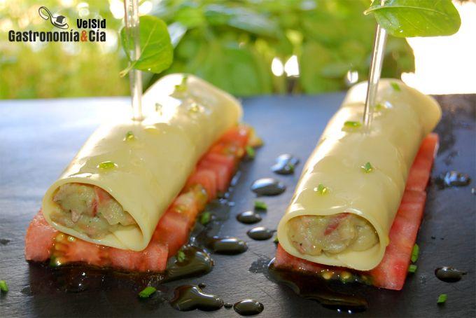 Canelones de queso rellenos de berenjena y jam n gastronom a c a - Canelones en microondas ...