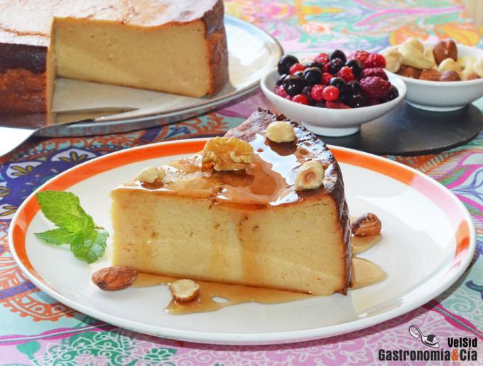 Cheescake de plátano y caramelo de mantequilla salada