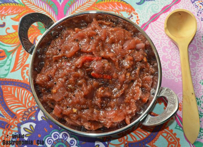 Chutney de higos y manzana verde, deliciosa salsa agrid