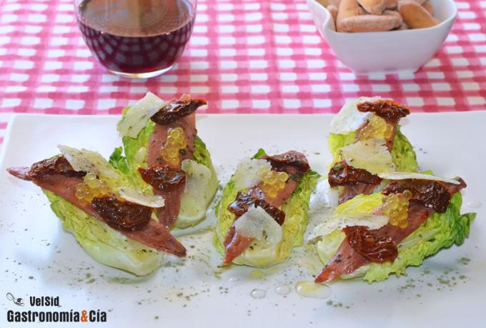 Cogollos con sardinas anchoadas y queso Idiazábal ahuma
