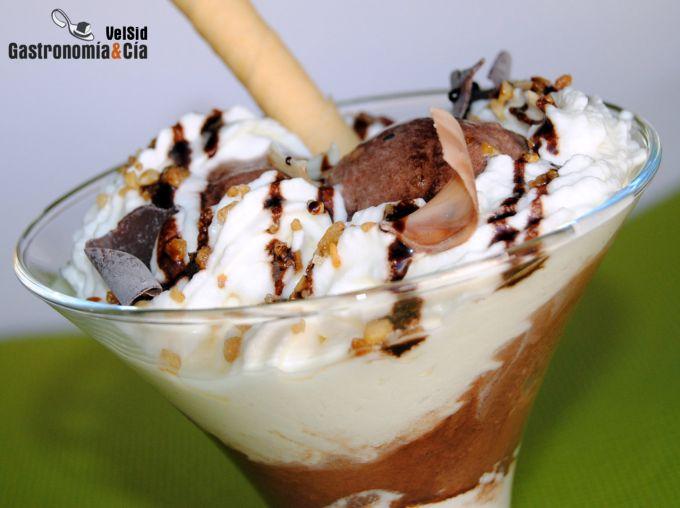 Copa de helado de chocolate al Calvados