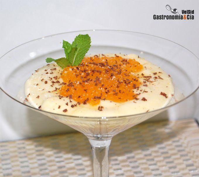 Crema Chiboust de naranja con naranja confitada