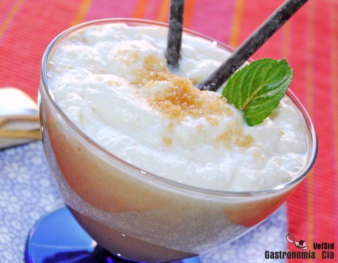 Crema de plátano con leche de coco