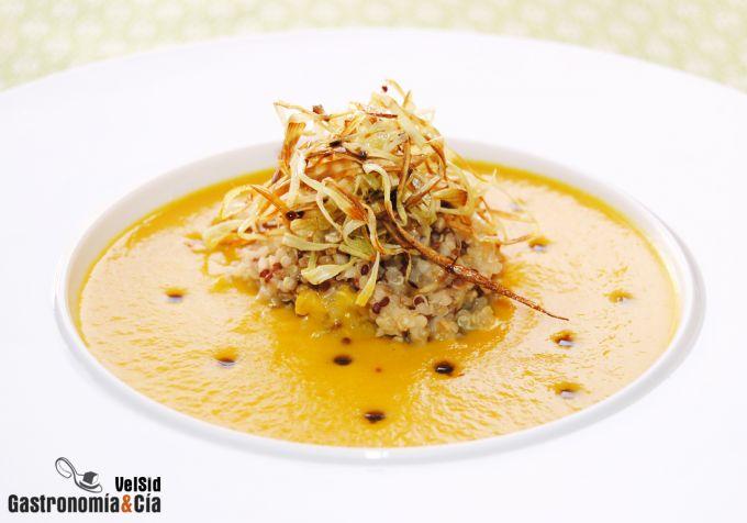 Crema de zanahoria con quinoa y bulgur