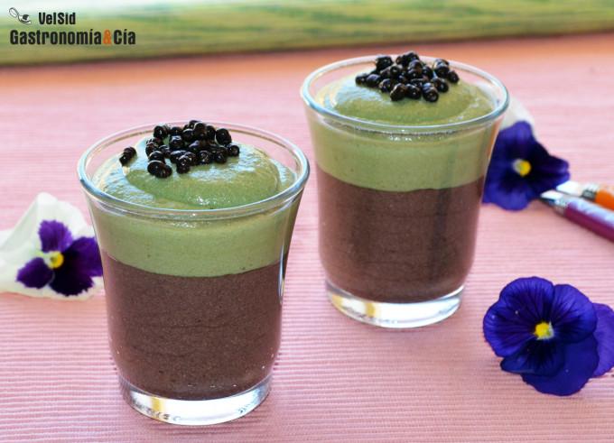 Crema de chocolate y té matcha