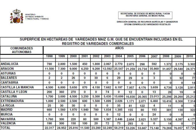 El cultivo de maíz transgénico en España se reduce