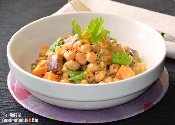 Receta de curry de garbanzos y calabaza