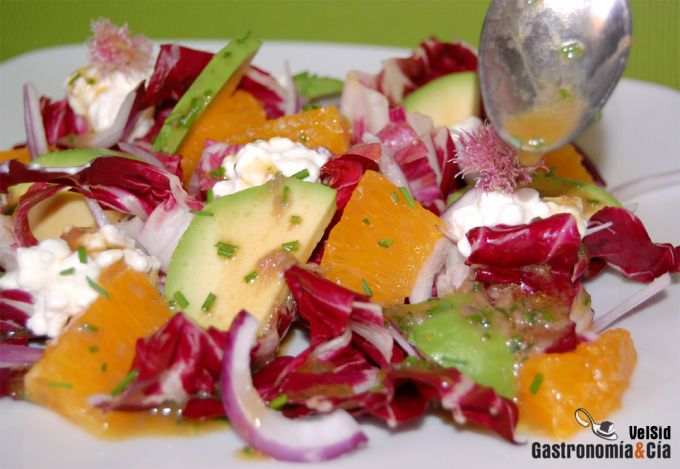 Ensalada de achicoria, aguacate y naranja
