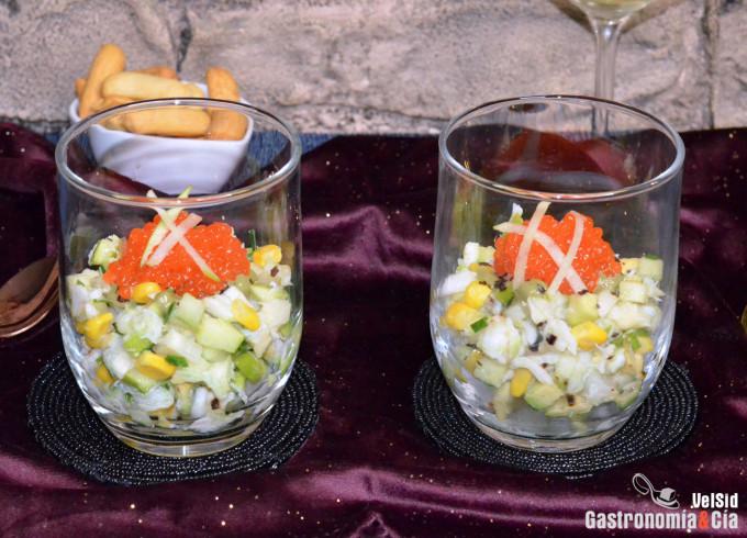 Receta de ensaladilla de cangrejo, manzana y aguacate