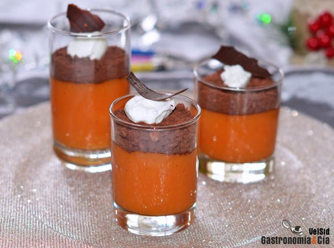 Flan de persimon con galletas de Navidad y chocolate