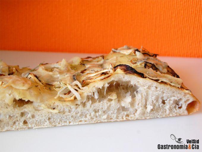 Focaccia de cebolla y Grana Padano