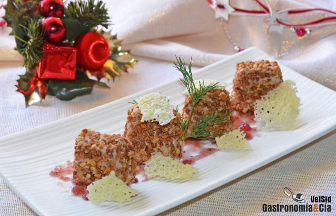 Bocaditos de foie gras con almendra y pimienta de Jamaica