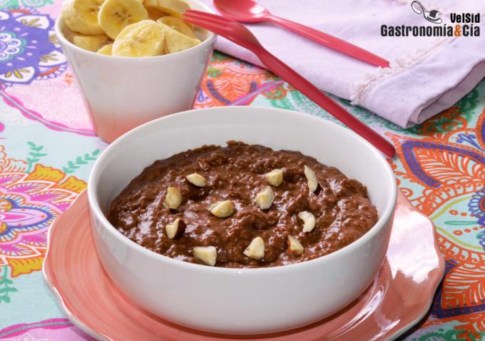 Gachas de avena con sabor a 'Nutella', desayuno saludab