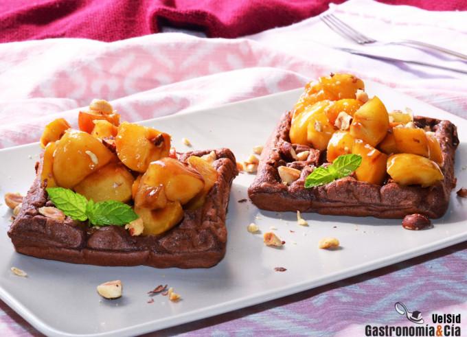 Gaufres aux bananes et au chocolat aux abricots