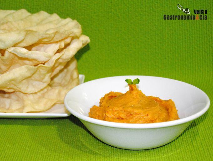 Hummus de batata y albahaca