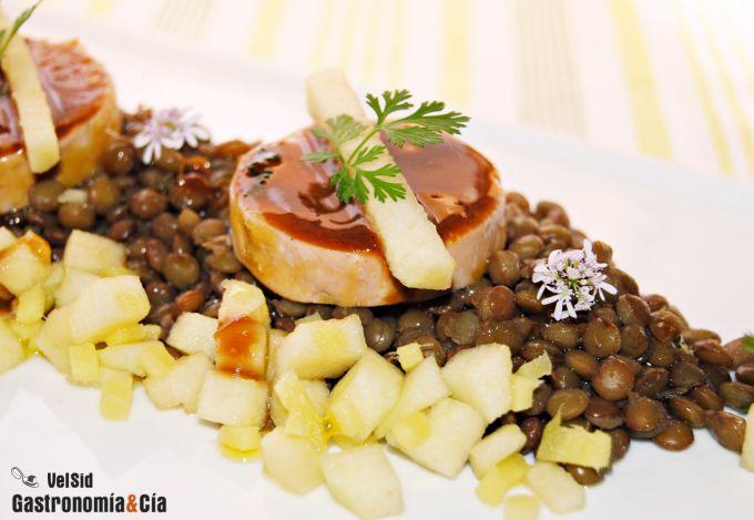 Lentejas con foie gras y glaseado de soja