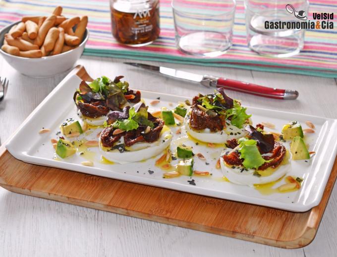 Mozzarella de búfala con tomates secos Corazón de buey