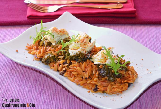 Orzo con col kale y mozzarella