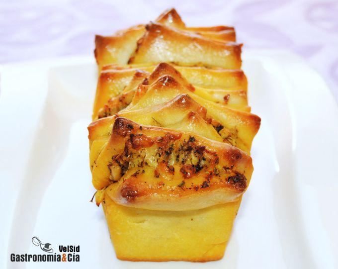 Pan relleno o sándwich con queso al horno
