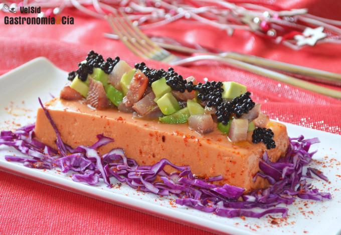 Panna cotta de pimientos asados con tartar de sardina a