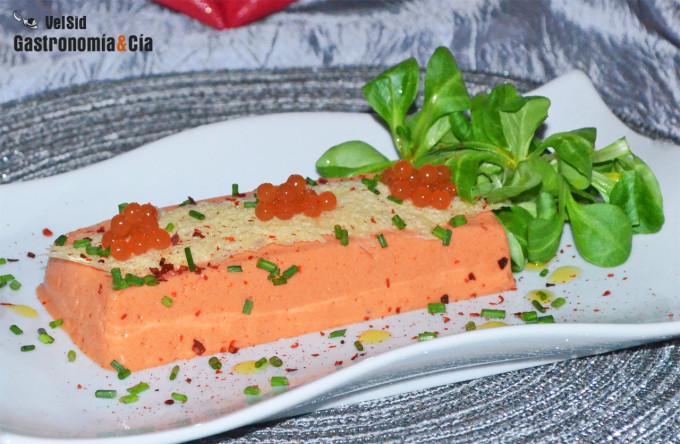 Panna Cotta de pimientos asados con crujiente de queso