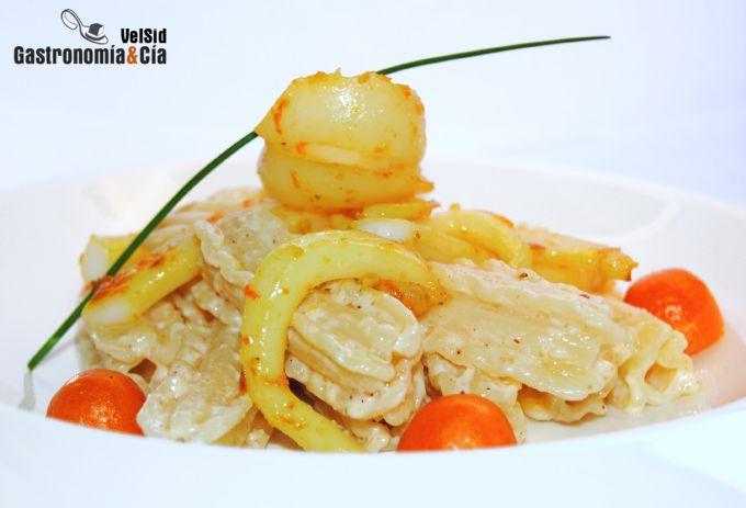 Pasta capricci con sepia, naranja y jengibre