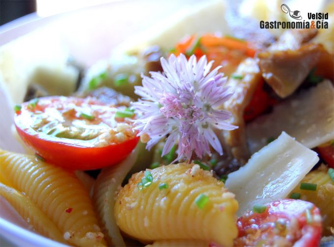 Ensalada de pasta, setas de cardo y parmesano