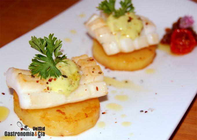 Patatas confitadas con sepia