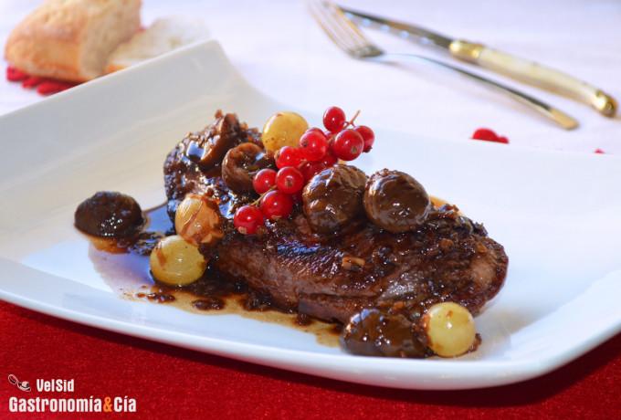Magret de pato al vermut con uvas y castañas