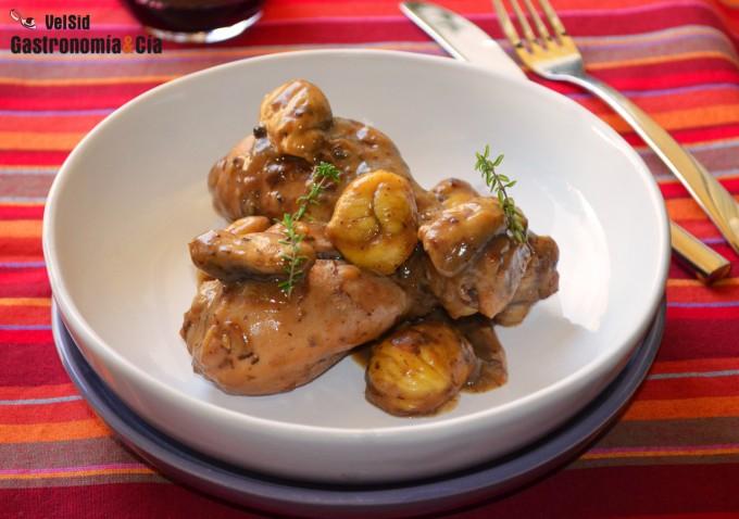 Pollo con castañas al albariño