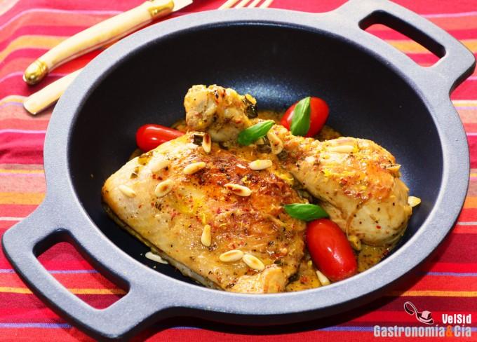 Pollo a la cazuela con limón y albahaca