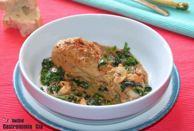 Muslos de pollo a la crema con espinacas