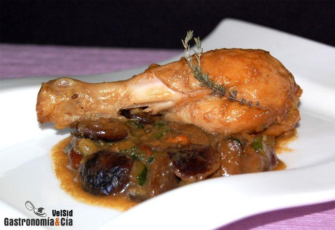 Pollo guisado con setas
