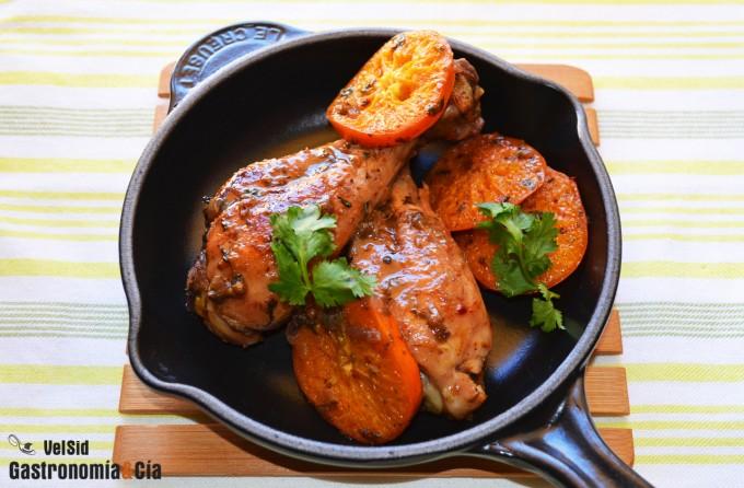 Guiso de pollo con mandarinas y cilantro