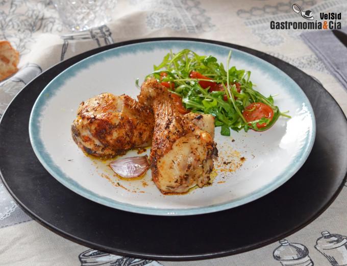 Muslos de pollo especiado con comino y pimentón
