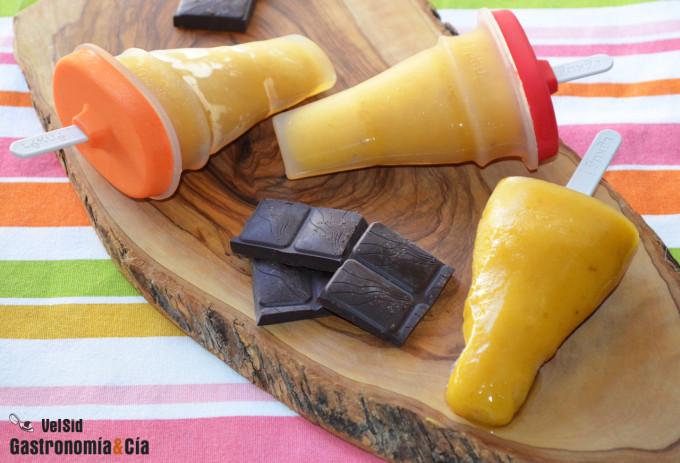 Polos de plátano y melocotón, los más fáciles de hacer
