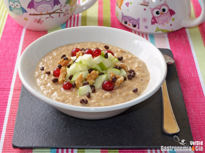 Porridge de café con manzana