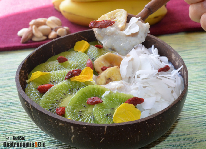 Porridge con kiwi y coco