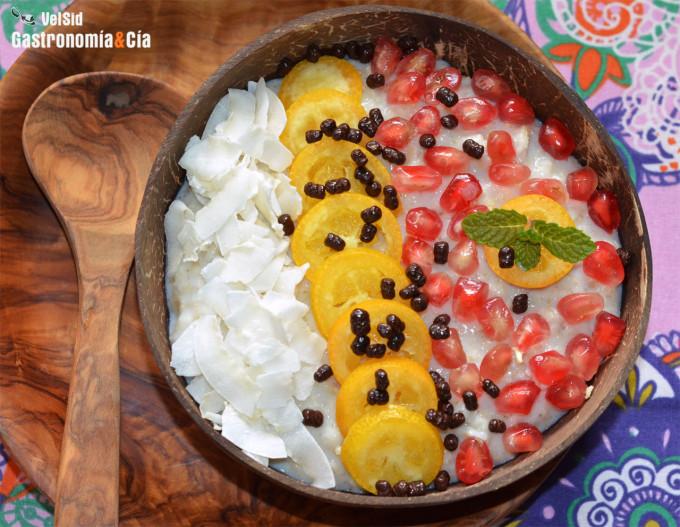 Porridge con kumquats, granada y coco, receta para un d