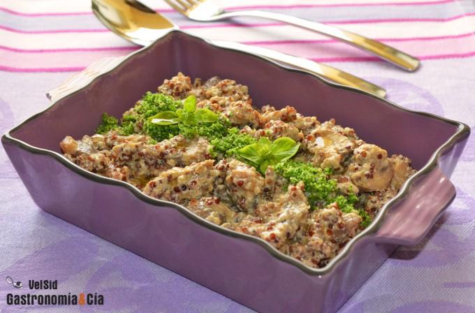 Portobello con quinua y tofu cremoso