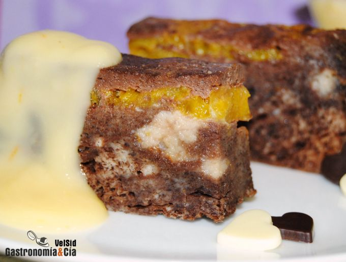 Pudin de chocolate y naranja con crema pastelera de nar