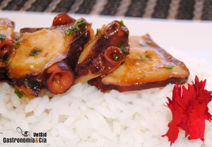 Pulpo marinado con soja y jengibre