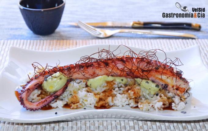 Pulpo tostado con salsa teriyaki y mayonesa de wasabi